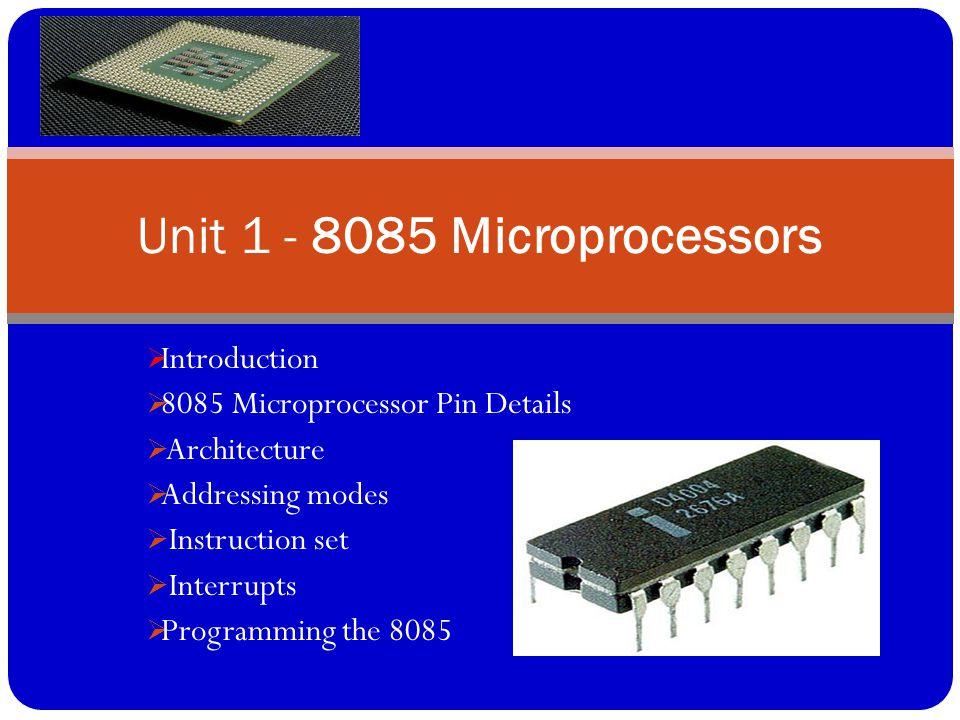 Unit 1 - 8085 Microprocessors