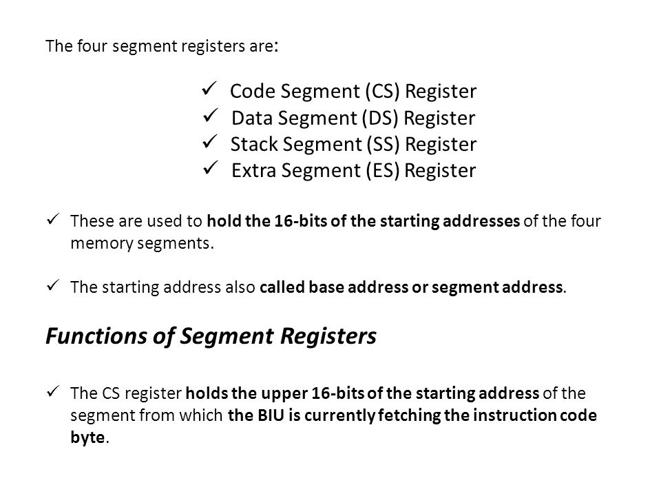Functions of Segment Registers