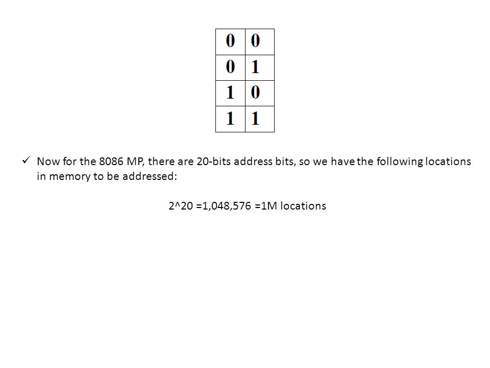 Now for the 8086 MP, there are 20-bits address bits, so we have the following locations in memory to be addressed: