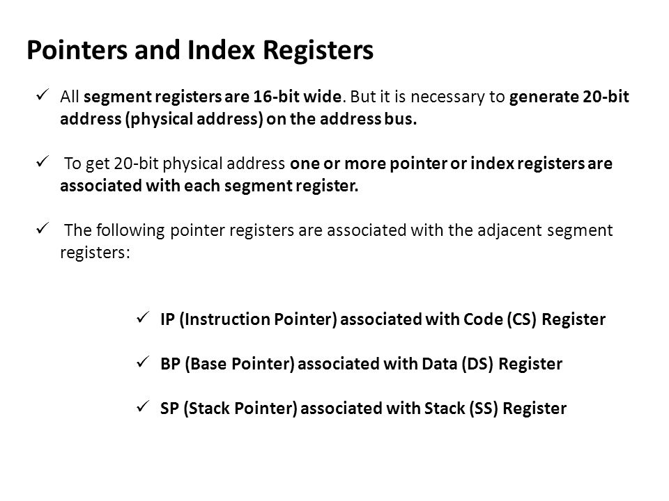 Pointers and Index Registers
