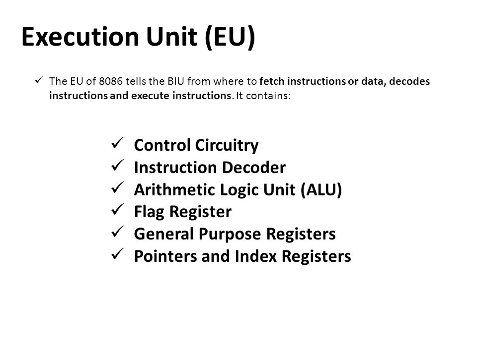 Execution Unit (EU) Control Circuitry Instruction Decoder