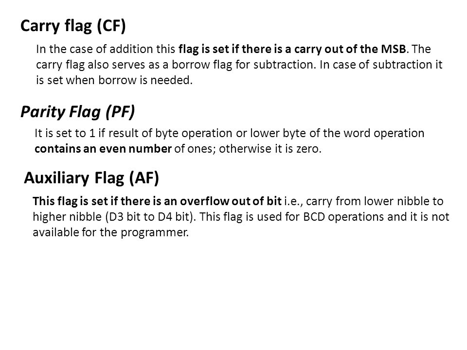 Carry flag (CF) Parity Flag (PF) Auxiliary Flag (AF)