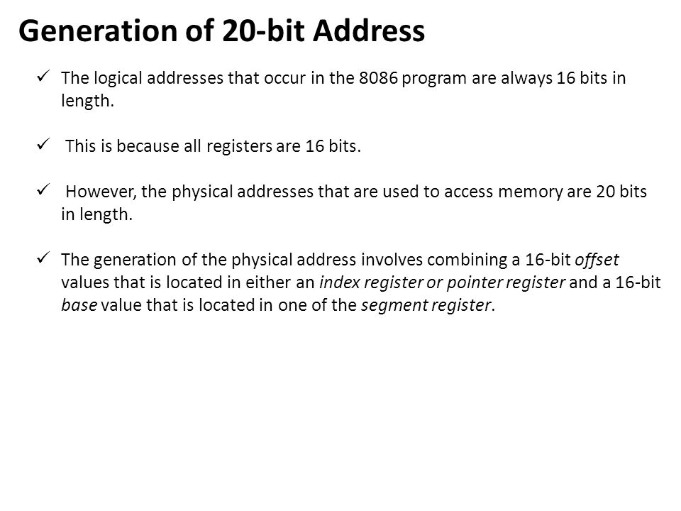Generation of 20-bit Address