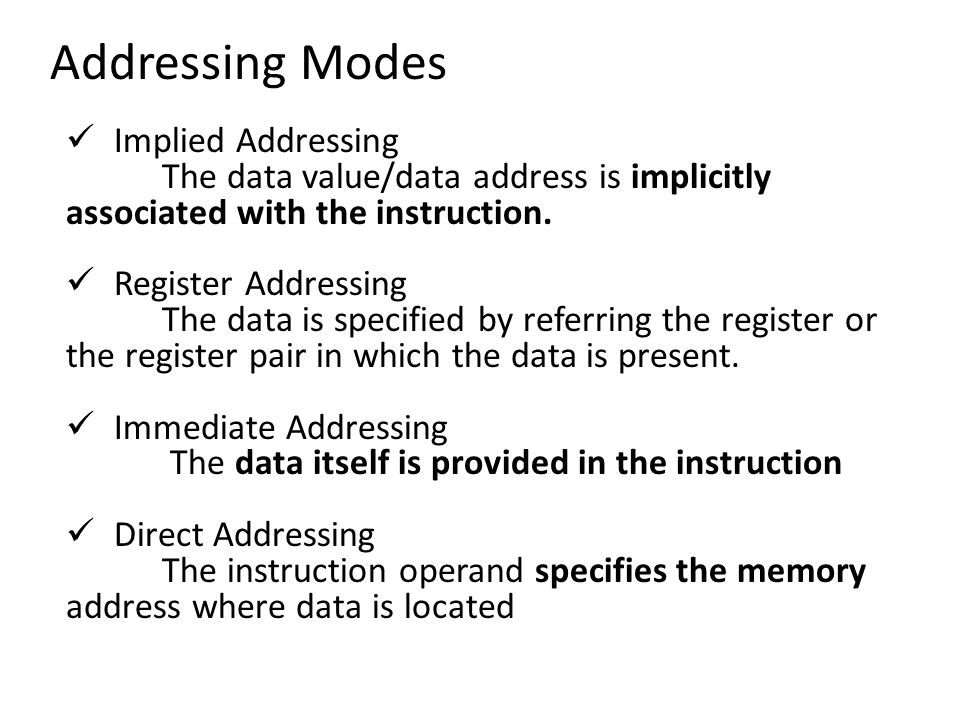 Addressing Modes Implied Addressing