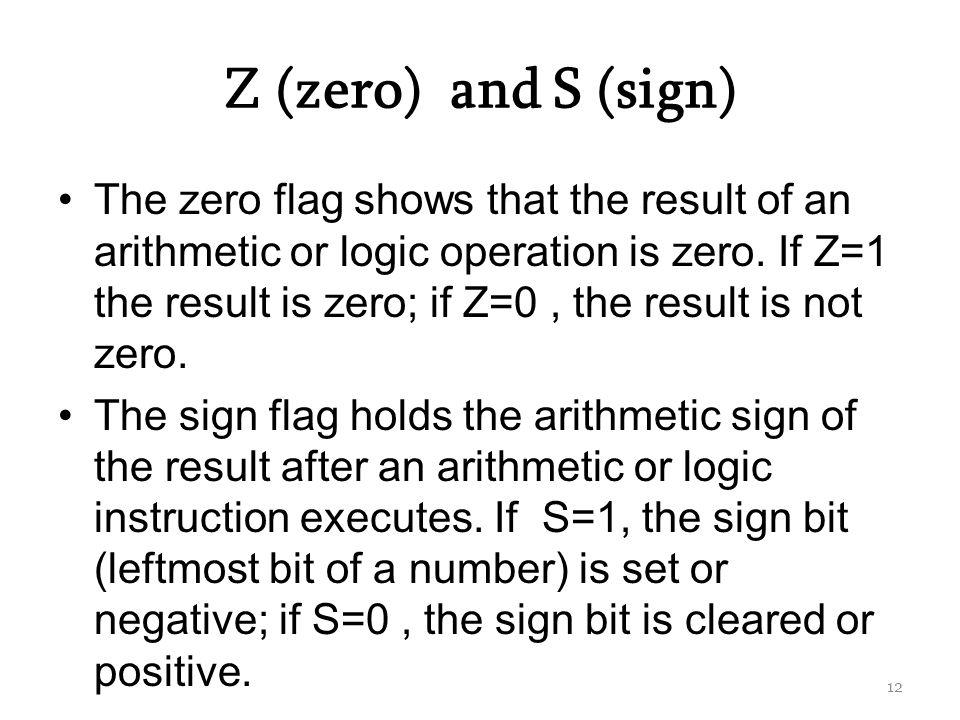 Z (zero) and S (sign)