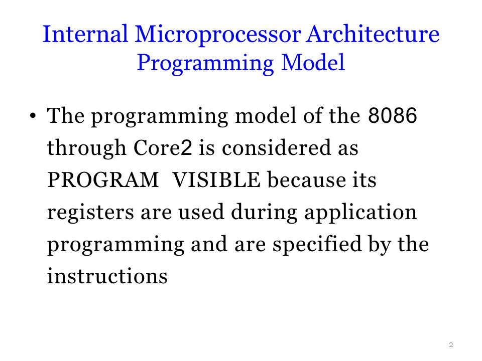 Internal Microprocessor Architecture Programming Model
