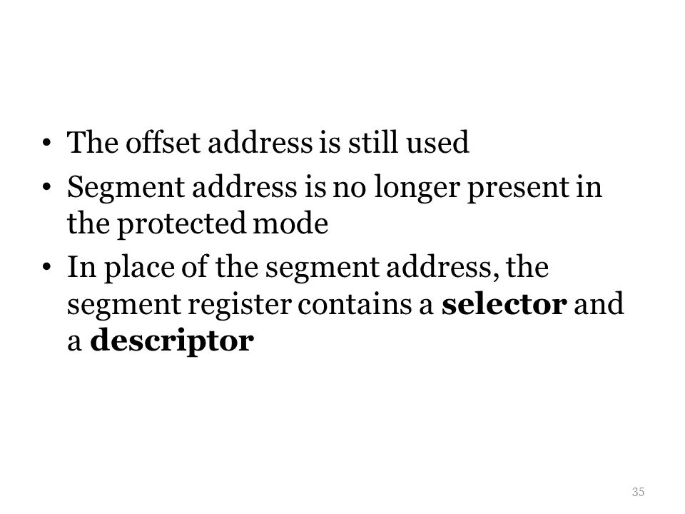 The offset address is still used