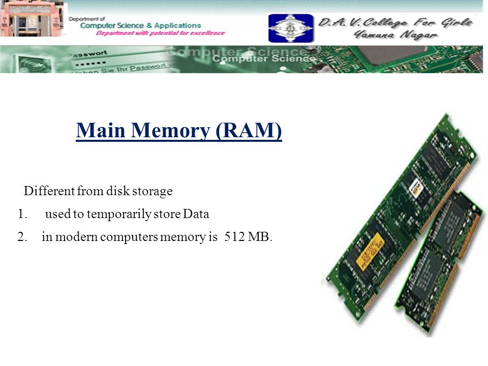 Main Memory (RAM) Different from disk storage