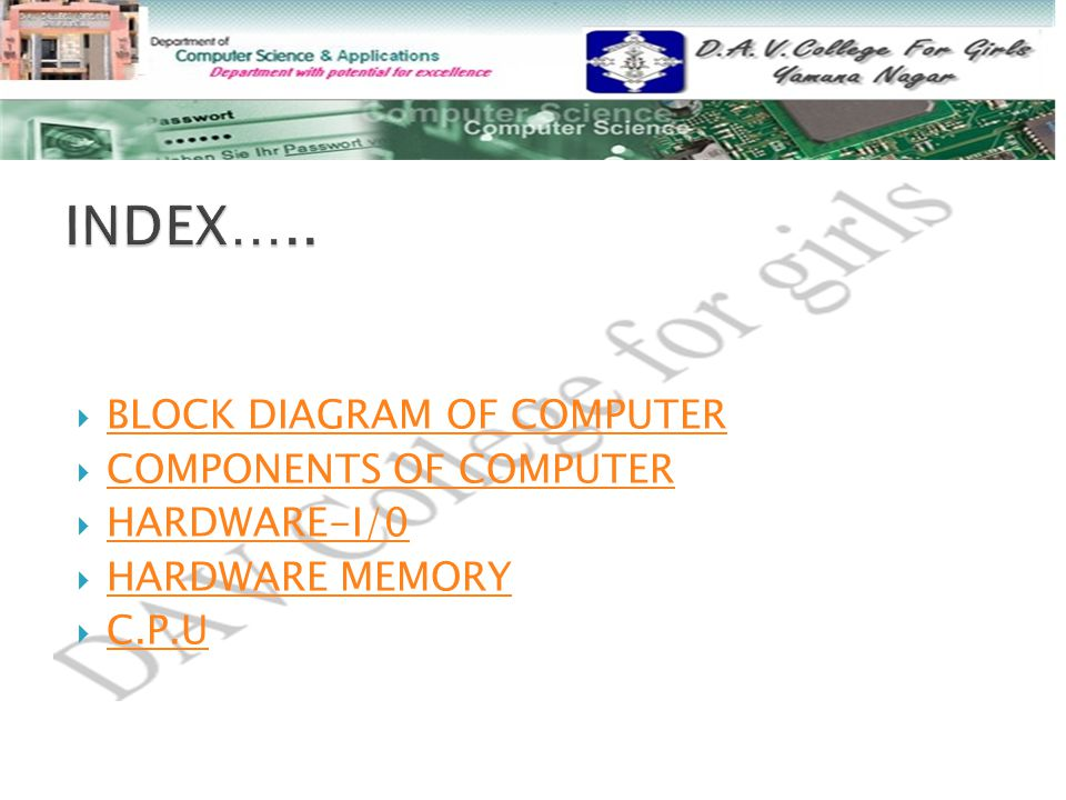 INDEX….. BLOCK DIAGRAM OF COMPUTER COMPONENTS OF COMPUTER HARDWARE-I/0