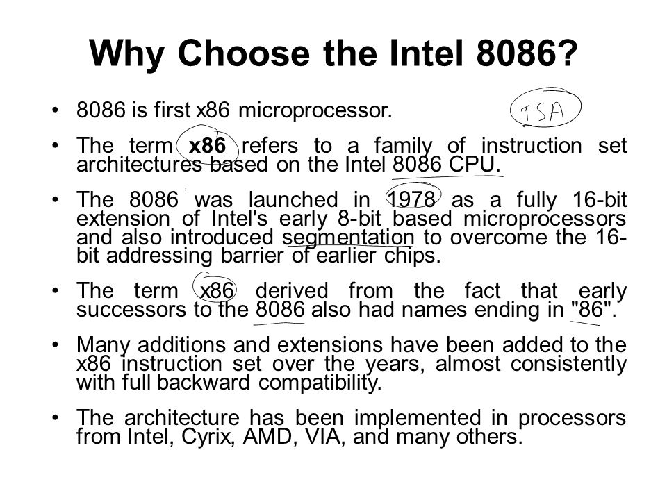Why Choose the Intel 8086 8086 is first x86 microprocessor.