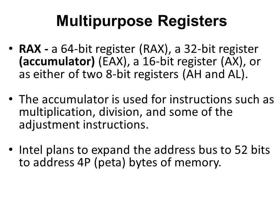 Multipurpose Registers