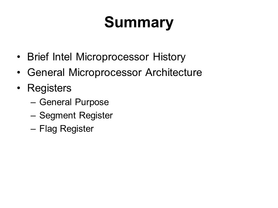 Summary Brief Intel Microprocessor History