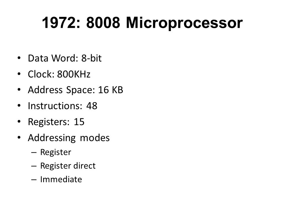 1972: 8008 Microprocessor Data Word: 8-bit Clock: 800KHz