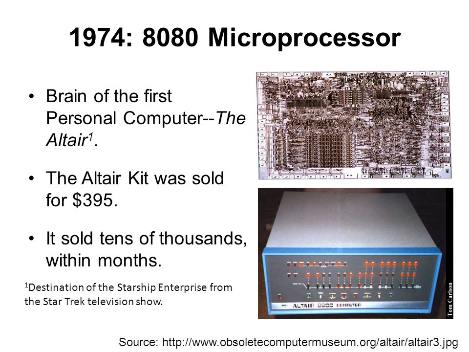 1974: 8080 Microprocessor Brain of the first Personal Computer--The Altair1. The Altair Kit was sold for $395.