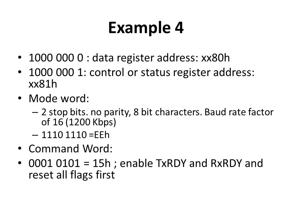 Example 4 1000 000 0 : data register address: xx80h
