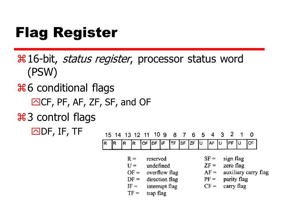 Flag Register 16-bit, status register, processor status word (PSW)