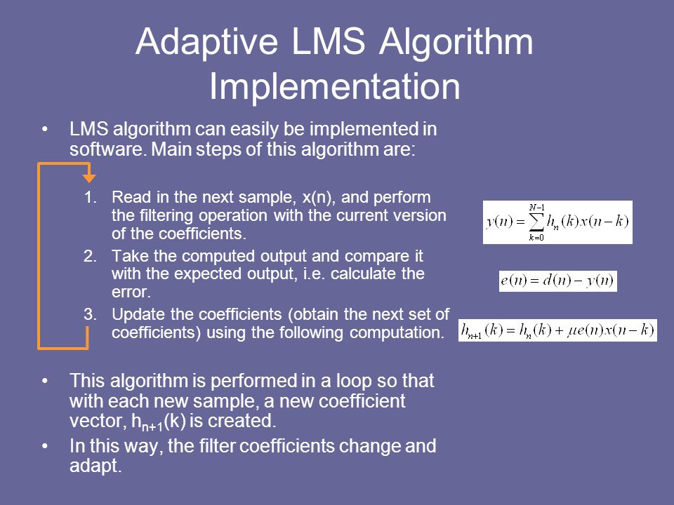 Adaptive LMS Algorithm Implementation