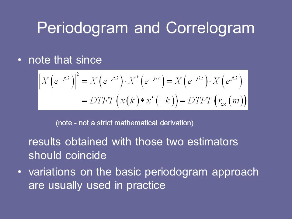 Periodogram and Correlogram