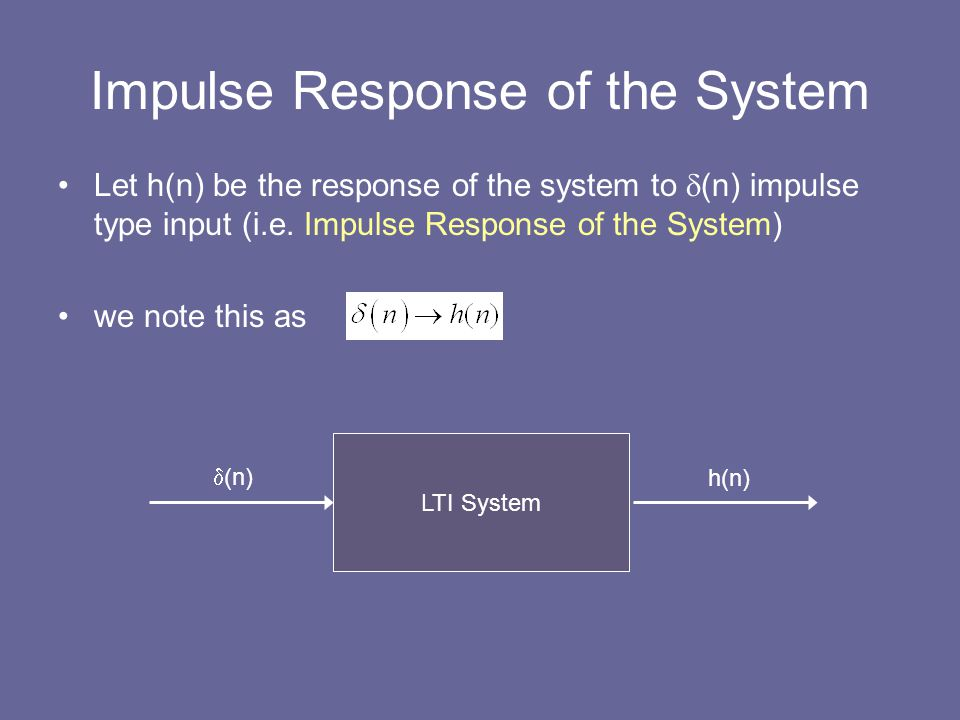 Impulse Response of the System