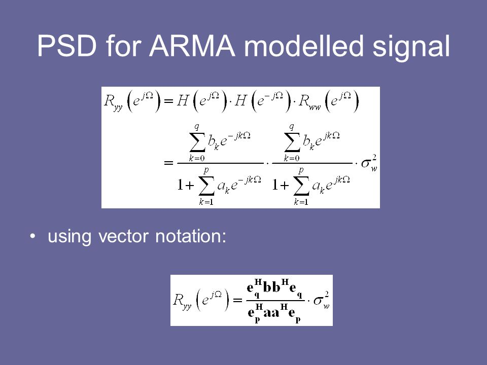 PSD for ARMA modelled signal