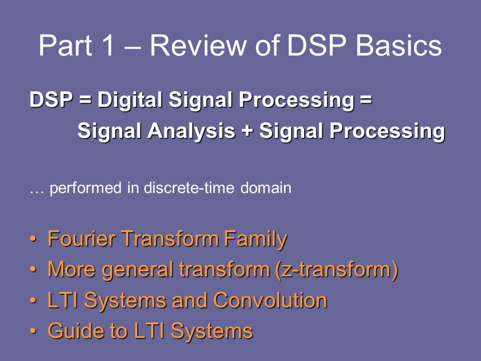 Part 1 – Review of DSP Basics