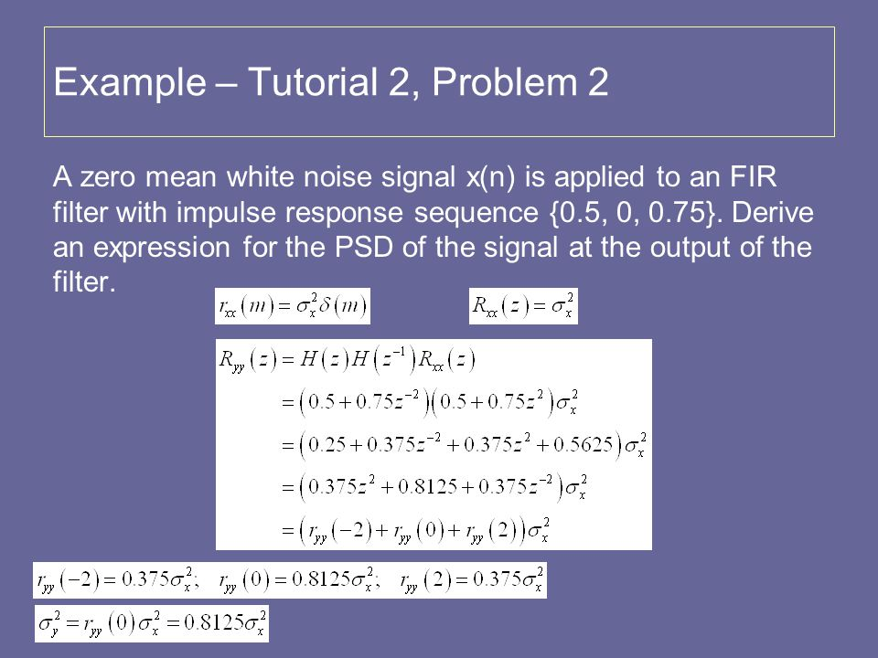 Example – Tutorial 2, Problem 2