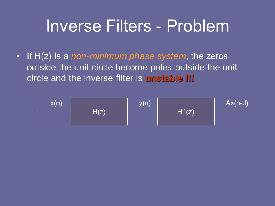 Inverse Filters - Problem