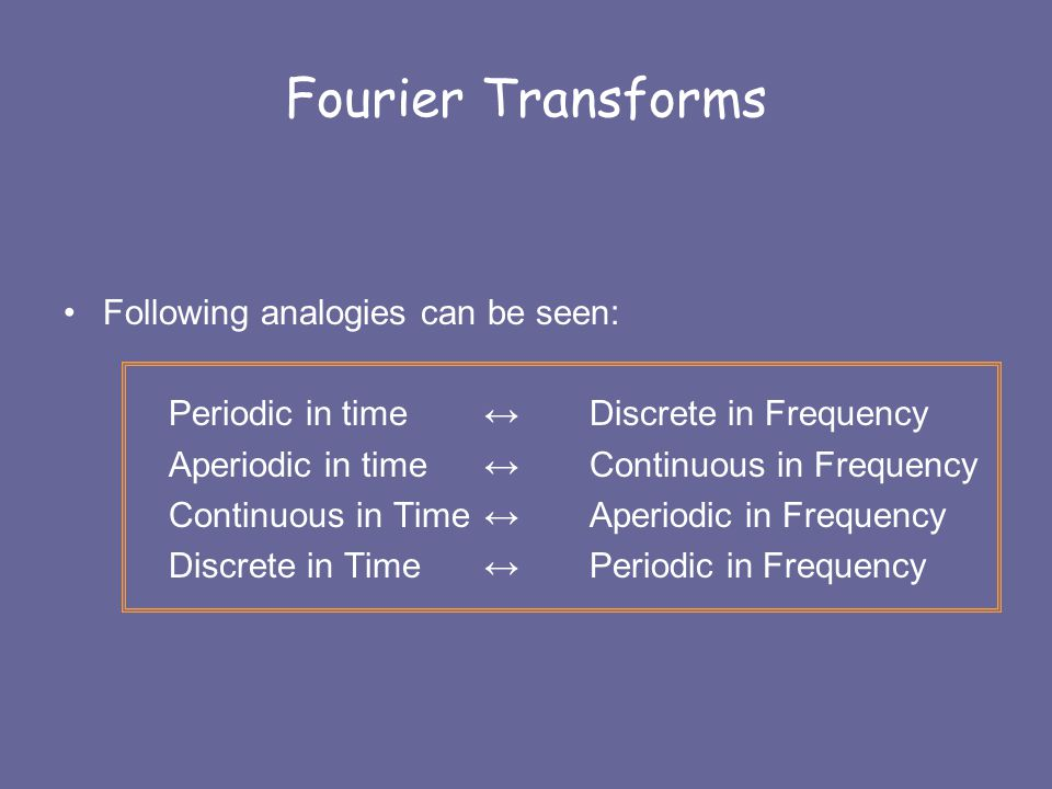 Fourier Transforms Following analogies can be seen: