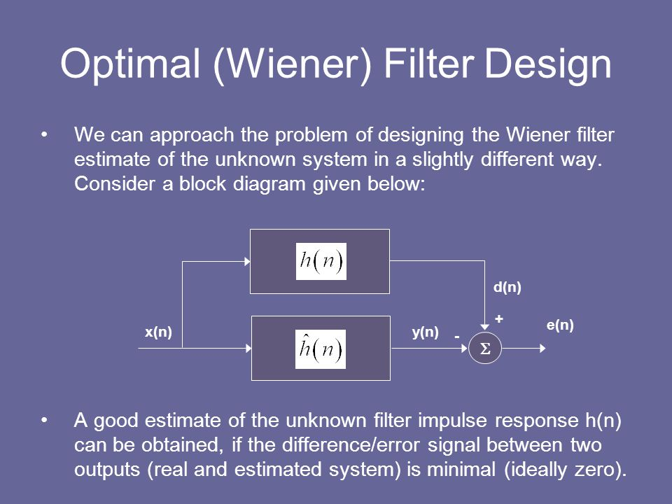 Optimal (Wiener) Filter Design