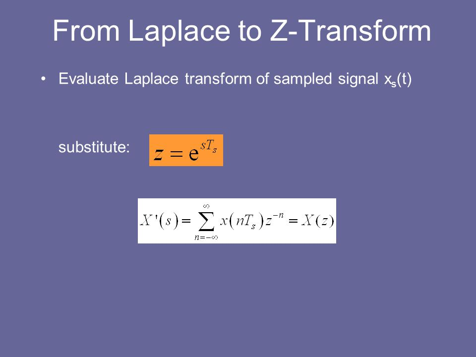 From Laplace to Z-Transform