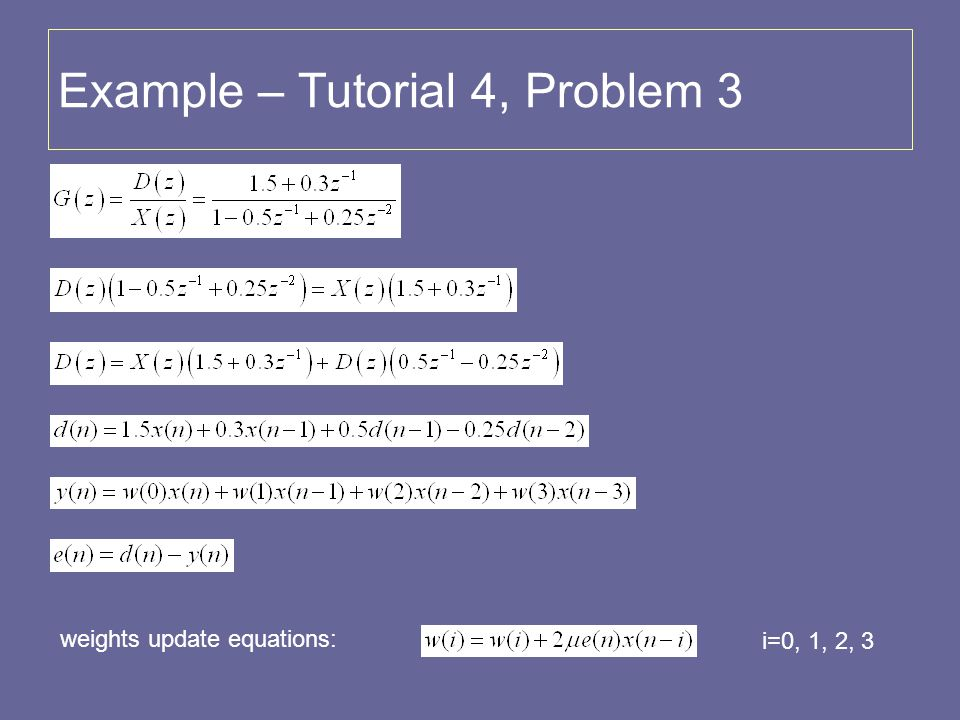Example – Tutorial 4, Problem 3