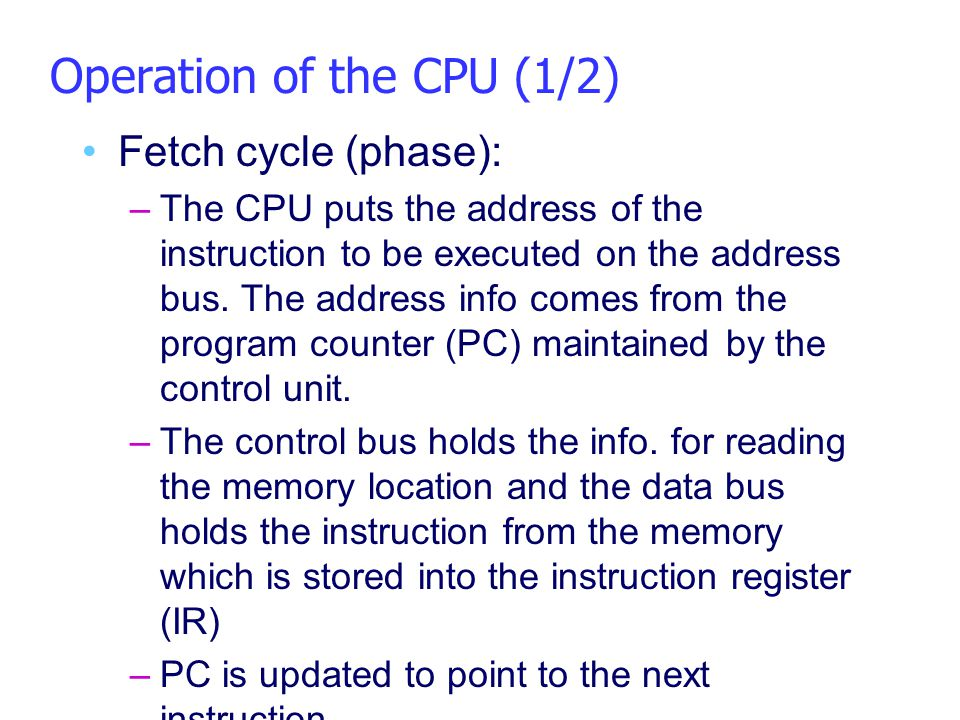 Operation of the CPU (1/2)