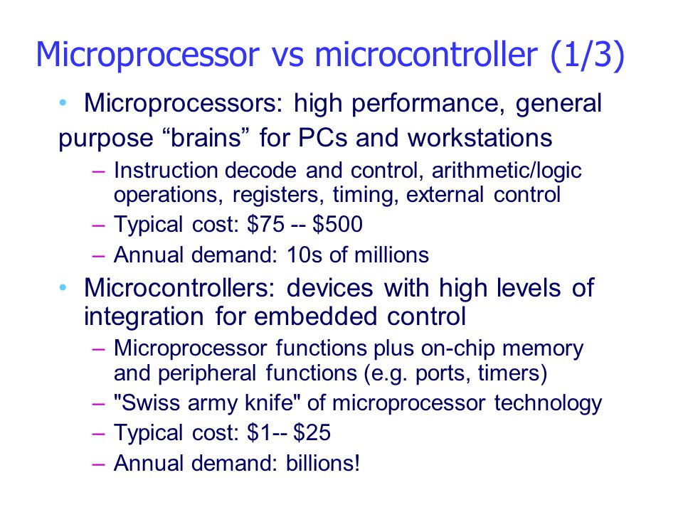 Microprocessor vs microcontroller (1/3)