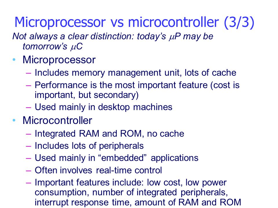 Microprocessor vs microcontroller (3/3)