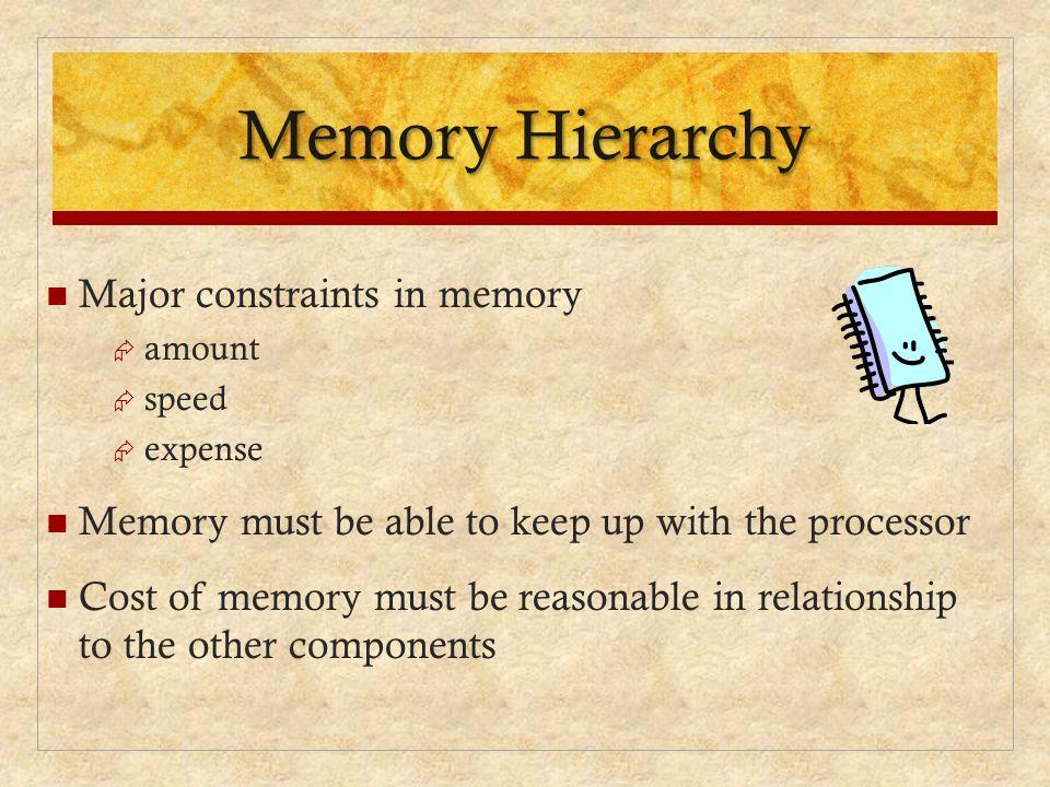 Memory Hierarchy Major constraints in memory