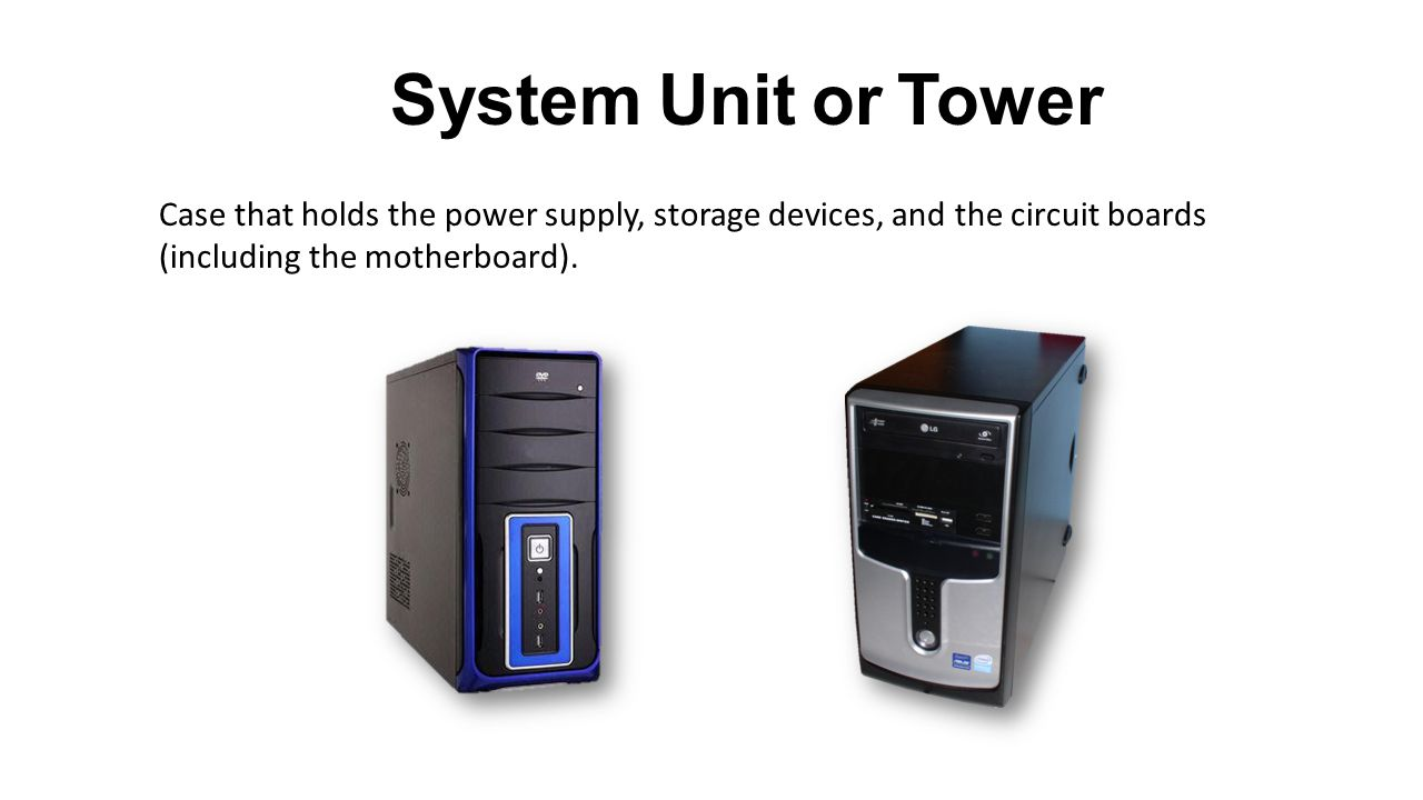 System Unit or Tower Case that holds the power supply, storage devices, and the circuit boards (including the motherboard).