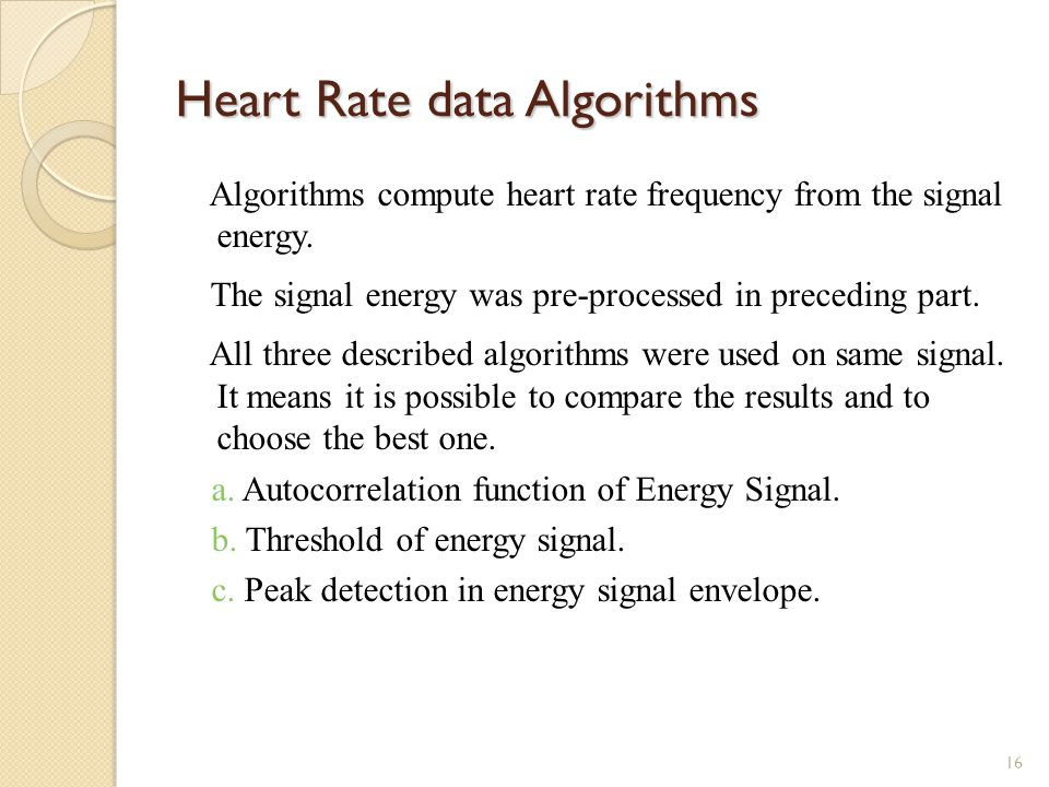 Heart Rate data Algorithms