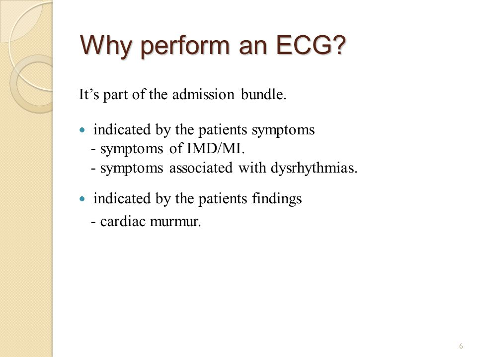 Why perform an ECG It's part of the admission bundle.