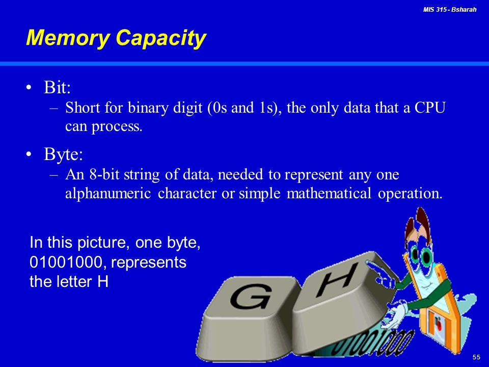 Memory Capacity Bit: Byte: