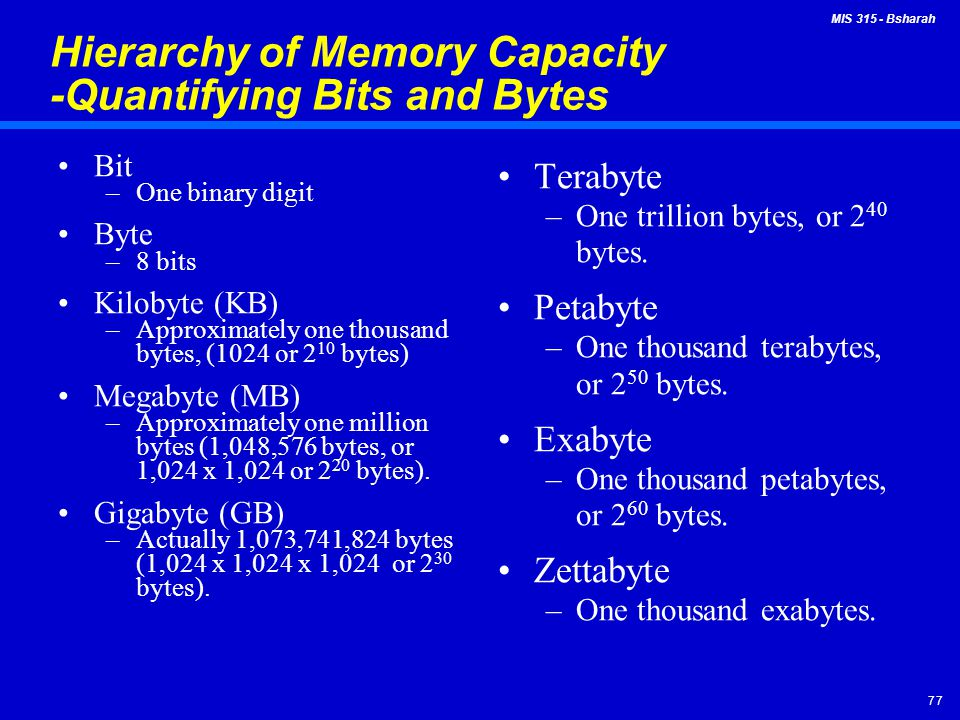 Hierarchy of Memory Capacity -Quantifying Bits and Bytes
