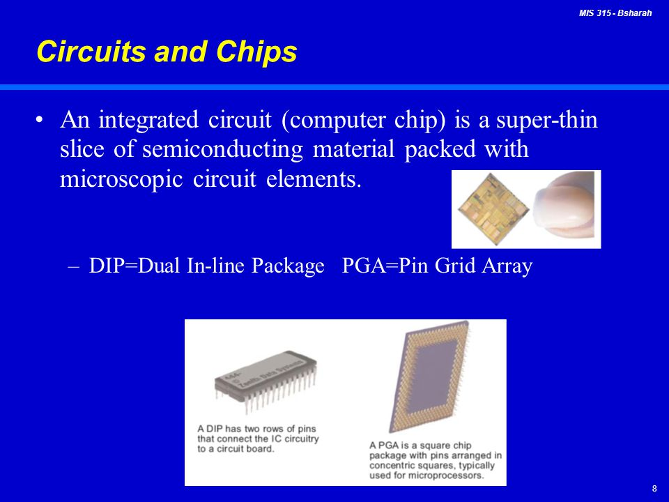 Circuits and Chips An integrated circuit (computer chip) is a super-thin slice of semiconducting material packed with microscopic circuit elements.