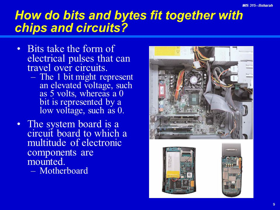 How do bits and bytes fit together with chips and circuits
