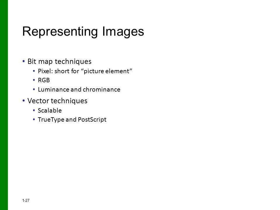 Representing Images Bit map techniques Vector techniques