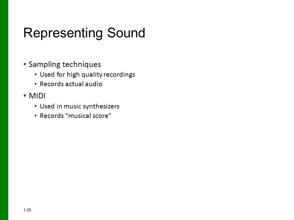 Representing Sound Sampling techniques MIDI