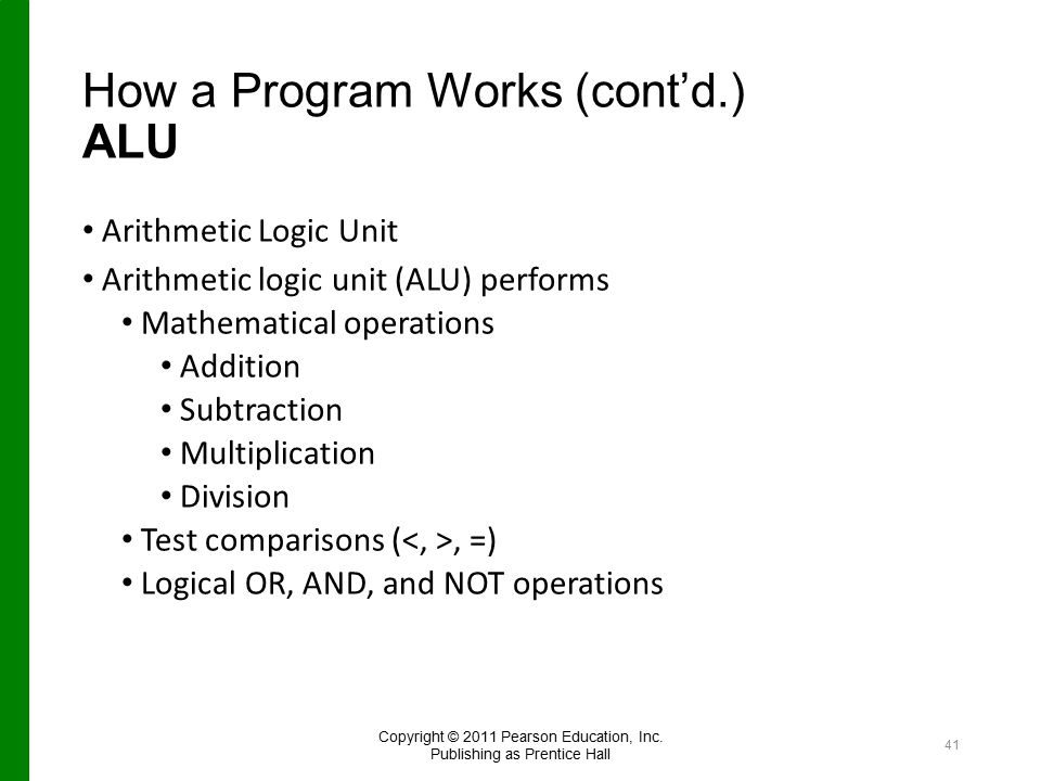 How a Program Works (cont'd.) ALU