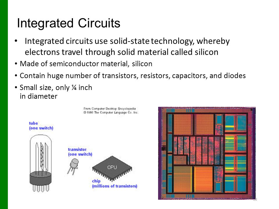 Integrated Circuits Integrated circuits use solid-state technology, whereby electrons travel through solid material called silicon.