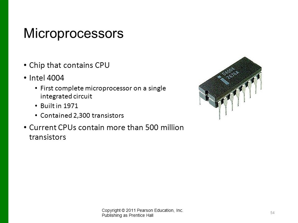Microprocessors Chip that contains CPU Intel 4004