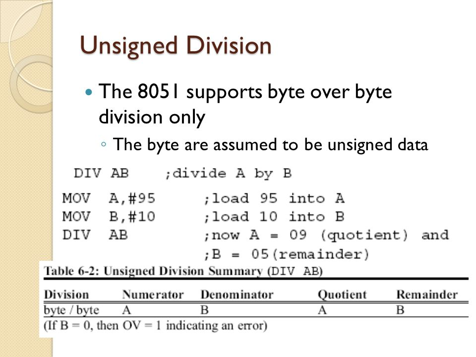 Unsigned Division The 8051 supports byte over byte division only