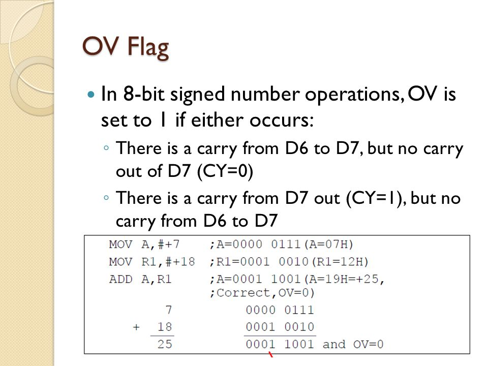 OV Flag In 8-bit signed number operations, OV is set to 1 if either occurs: There is a carry from D6 to D7, but no carry out of D7 (CY=0)