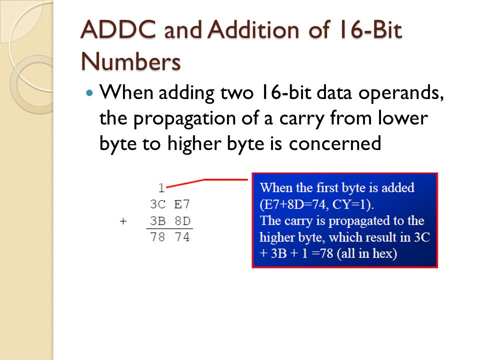 ADDC and Addition of 16-Bit Numbers